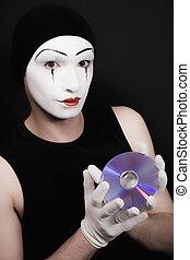 portrait, noir, mime, fond, cd