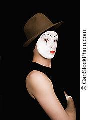 portrait, noir, mime, fond, chapeau