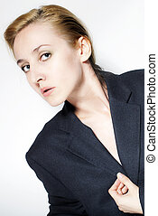 young beautiful business woman on white background