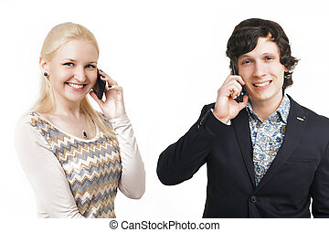portrait of 2 businessmen on a white background. A man , a woman talking on the phone