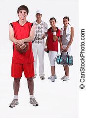 portrait of 4 sporty people