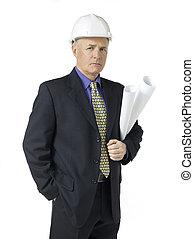 portrait of a architect with blueprint paper