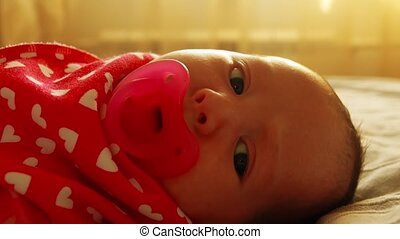 Portrait of a baby girl with pink pacifier