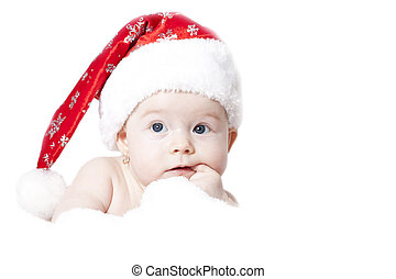 Portrait of a baby with Santa hat isolated on white