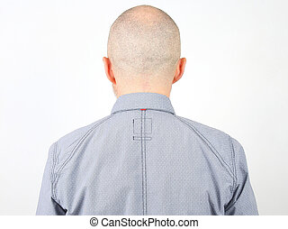 portrait of a bald man from the back