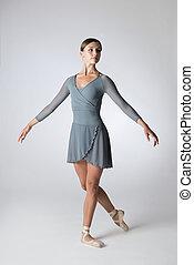 Portrait of a Ballerina in a Gray Leotard