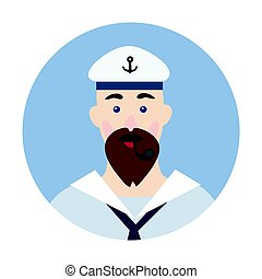 Portrait of a bearded sailor with Smoking pipe in his mouth. Vector illustration, isolated on white.