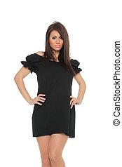 portrait of a beautiful adult sensuality woman in black dress posing