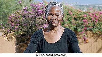 Portrait of a beautiful African American senior woman...