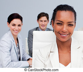 Portrait of a beautiful Afro-American businesswoman smiling