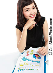 asian business woman working on her desk