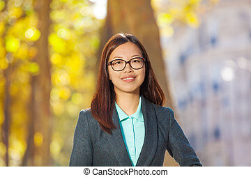 Portrait of a beautiful Asian woman face smiling