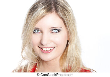 Portrait of a beautiful blond haired woman