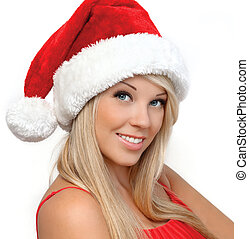 portrait of a beautiful blonde girl in a red Christmas hat