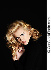 smoky eyes - Portrait of a beautiful blonde woman with ...