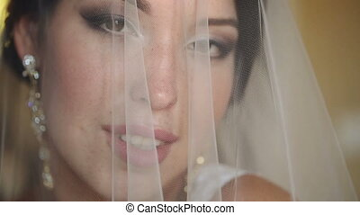 Portrait of a Beautiful Bride Covered With Veil