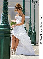beautiful bride in a greek island