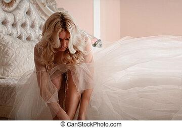 Portrait of a beautiful bride. morning bride