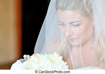 Portrait of a beautiful bride smiling.