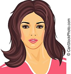 Portrait of a beautiful brunette in a pink t-shirt. Vector...