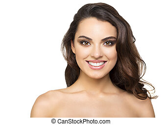 Portrait of a beautiful brunette on white background