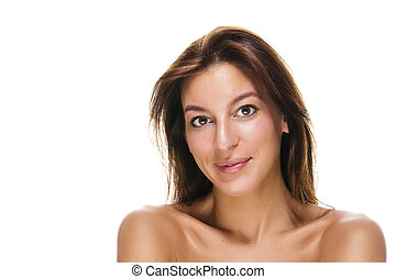portrait of a beautiful brunette smiling woman on white background