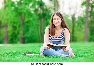 student girl with books