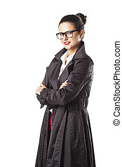 portrait of a beautiful business girl with glasses