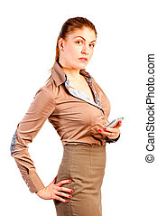 Portrait of a beautiful businesswoman on white background