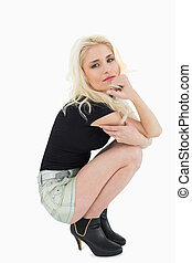 Portrait of a beautiful casual blond posing