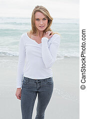 Portrait of a beautiful casual woman at beach