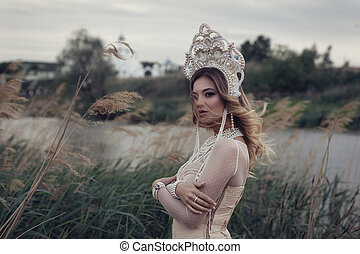portrait of a beautiful Caucasian girl in kokoshnik