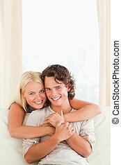 Portrait of a beautiful couple embrace