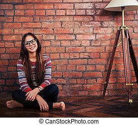 Portrait of a beautiful cute teen girl