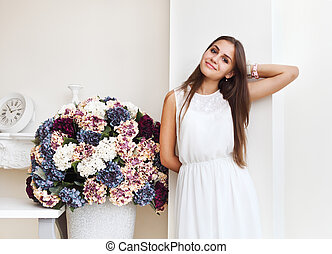 Portrait of a beautiful cute teen girl smiling