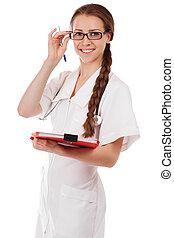 Portrait of a beautiful elegant successful doctor in blue uniform