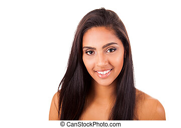 Portrait of a beautiful ethnic woman over white background