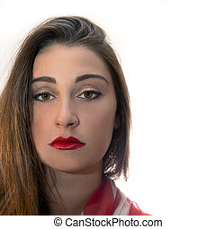 Portrait of a beautiful European woman with copy space