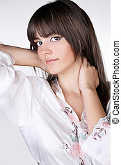 Portrait of a beautiful female model, health care