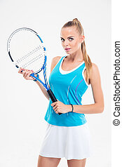 Portrait of a beautiful female tennis player