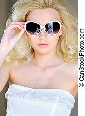 portrait of a beautiful girl glamorous fashion