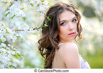 portrait of a beautiful girl in spring