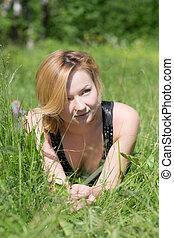 girl in summer grass