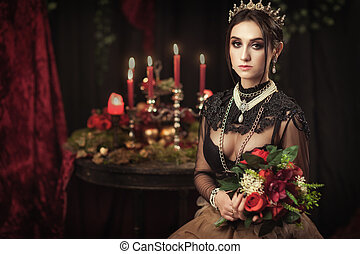 portrait of a beautiful girl in the crown