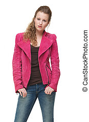 Portrait of a beautiful girl posing with pink jacket