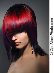 portrait of a beautiful girl, professional hair coloring -...