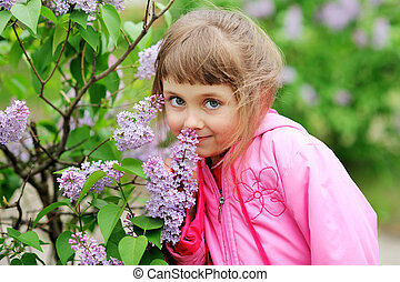 portrait of a beautiful girl with flowers