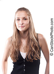 Portrait of a beautiful girl with long hair