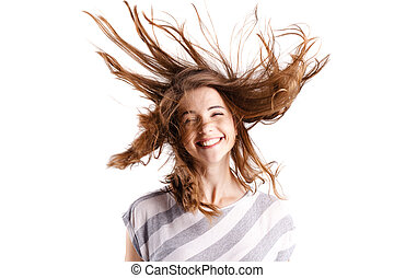portrait of a beautiful girl with waving hair