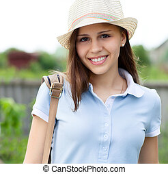 Portrait of a beautiful happy teen girl